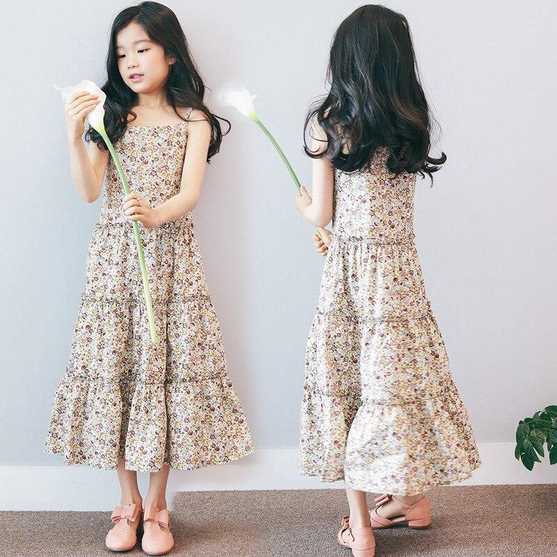 holiday summer dress girls cotton 2017 bohemian maxi long flowers print teenagers dress beach sleeveless dresses for girls