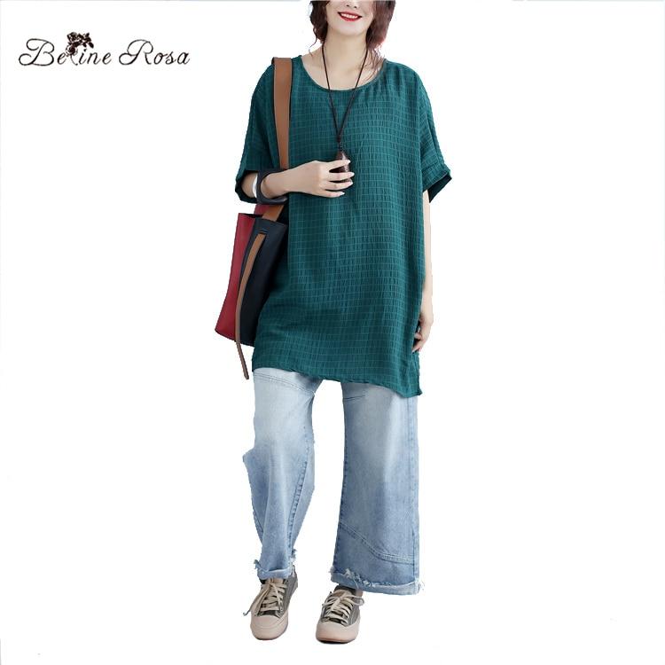 48e7ce1e1d8 BelineRosa 2017 Women s Summer T shirts Plus Size Women Clothing Loose  Casual Pure Color T shirts for Women BSDM0017-in T-Shirts from Women s  Clothing on ...