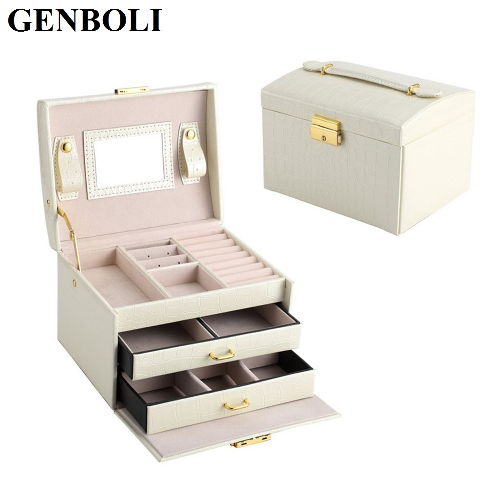 Fashion Leather Three Layers Double Drawers Jewelry Packaging Holder Stand Rings Holder Jewelry Organizer Box Storage Cases