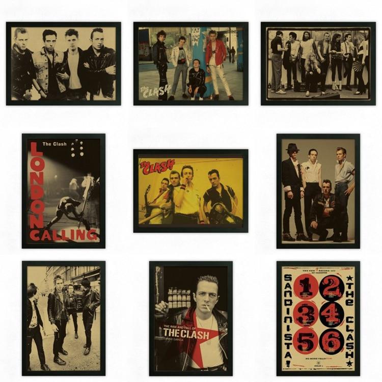 The Clash Vintage Retro rock band music font b Guitar b font Matte Kraft Paper Poster