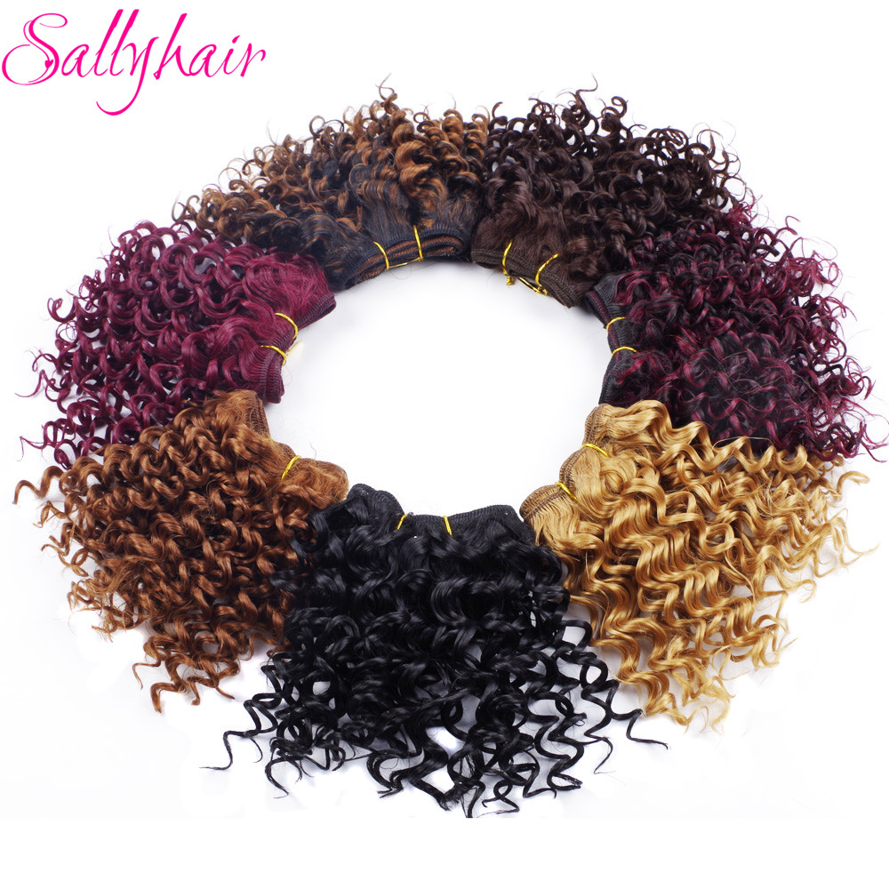 Sallyhair Afro Kinky Curly Crochet Hair Weave Ombre Färg High Temperature Weft Syntetiska Hårförlängningar 3pc / lot Hair Weavings