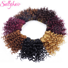 Sallyhair Afro Kinky Curly Crochet Hair Weave Ombre Color High Temperature Weft Synthetic Hair Extensions 3pc/lot Hair Weavings