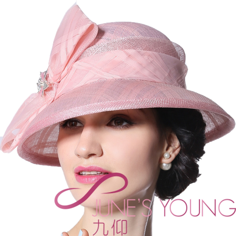55e114e6 Pink Junes Young Women Hat Summer Hats Sinamay Bow MM-0058