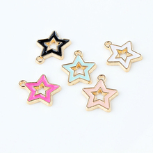 10PCS Oil Drop Stars Charms Bracelets Gold Zinc Alloy Enamel DIY Necklace Earring Jewelry Pendant Colorful AccessoryYZ081