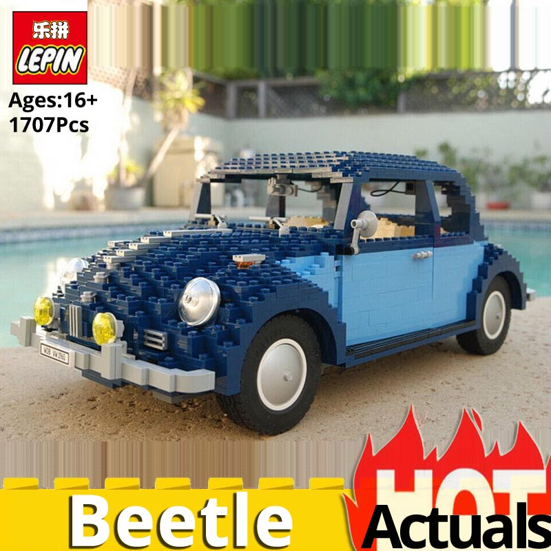 Lepin Technic Classic 21014 The Ultimate Beetle Car Set legoings 10187 Educational Gift Building Blocks Bricks Toys For children 1707pcs new lepin 21014 classic beetle model car building kits blocks bricks for children christmas gifts legoinglys 10187