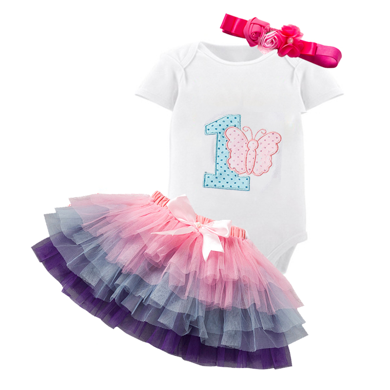 1st First Birthday Dress Outfits Baby Girl Tutu Fluffy Toddler Tops Sets Infant Clothing Tutu Kids Christening Clothes Suits