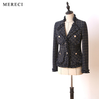 New Spring Autumn Fashion Women Classic Tweed Jacket Elegant Long Sleeve Tassel Notched Collar Small Pockets