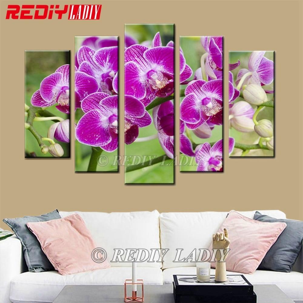 REDIY LADIY Diamond Embroidery Triptych Diamond Painting Cross Stitch 5 Panels Wall Art Orchid Flowers Mosaic