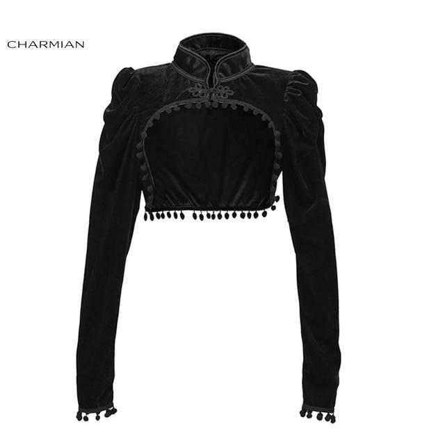 Charmian Womens Medieval Gothic Black Velvet Stand Collar Long Sleeve Midriff Shrug Bolero with Pom poms
