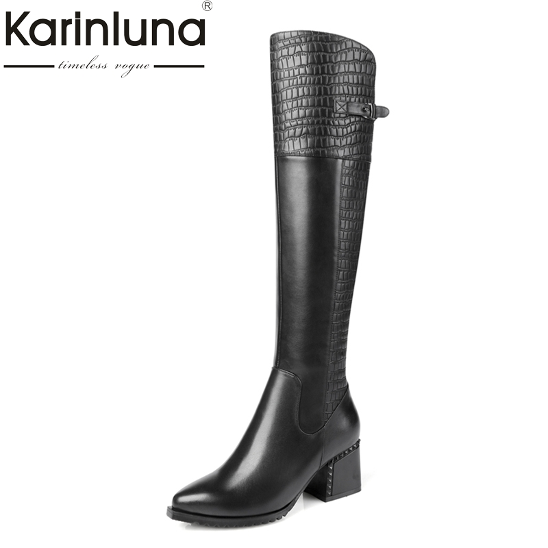 KarinLuna top quality genuine leather large size 34-42 women shoes woman square heels zip up knee-high boots woman karinluna 2018 top quality size 33 41 brand shoes women knee high boots genuine leather square heels riding boots woman shoes