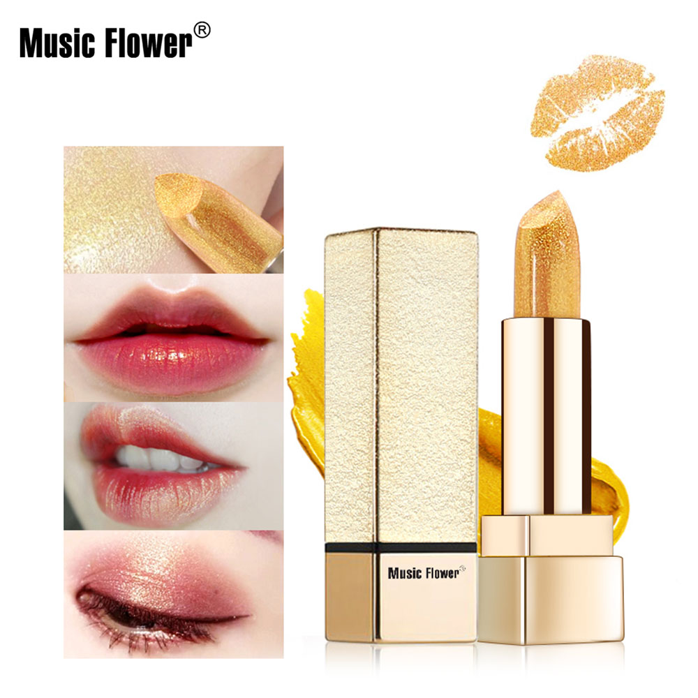 Music Flower Golden lipstick Shimmer Long lasting Water-proof Metal Lipstick Moisturizing Cosmetic Women Makeup Tools