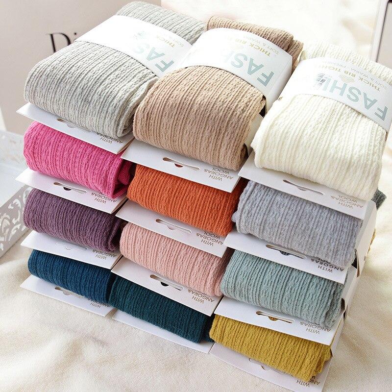 2015 Livraison Gratuite Nouveau Printemps Automne Hiver Coton Tricoté Bas 15 Couleur Femmes Twist Chaud Rayé Collants 2 conceptions