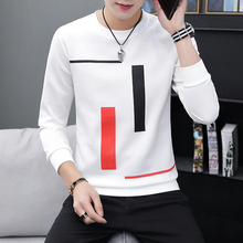 Spring and Autumn New men's printed long-sleeved T-