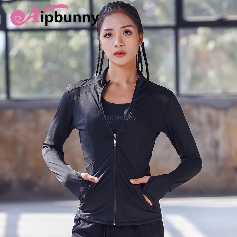 Atejifey Hot High Flexible Yoga Coat Long Sleeve Women -4714