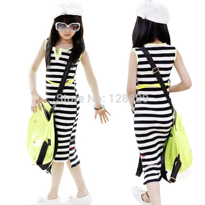 Big Girls Dresses Summer Casual Style Children Clothing Sleeveless Long Length Girl Vest Dress Striped Kids Clothes For 6-14Y summer seaside girls dresses children korean style clothing big girl casual striped costume kids cotton clothes junior vestidos