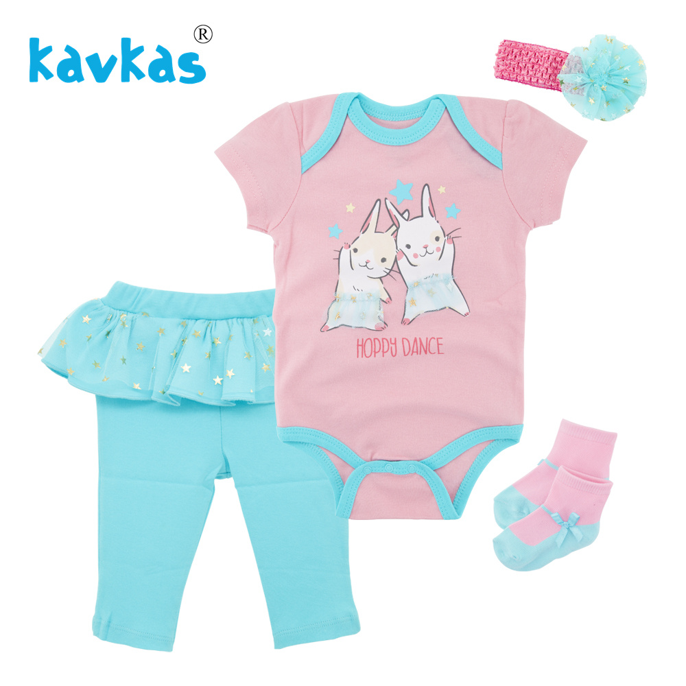 4b5365994d249 Kavkas Infant Clothing Set Newborn Cotton Short Sleeve Rabbit Bodysuits+  Pants+ Headband+ Socks 4pcs Baby Girls