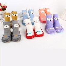 Носки для новорожденных; хлопковые детские носки для малышей; плотные теплые нескользящие носки с рисунками животных; тапочки; аксессуары для малышей