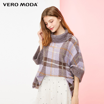 Vero Moda 2019 New Women's Woolen Mohair Batwing Sleeves Loose fit High-necked Streetwear Plaid Sweater | 318413616