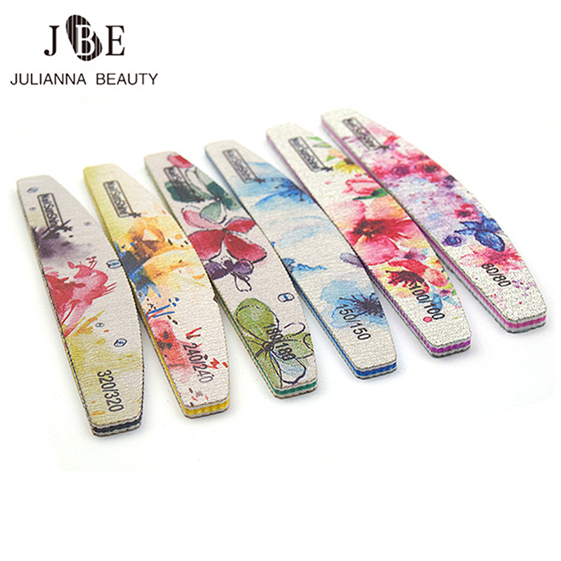 50pcs 80/100/150/180/240/320 Grit Nail Files Sandpaper Washable Nail Buffer Emery Board Colorful Manicure Polisher Files
