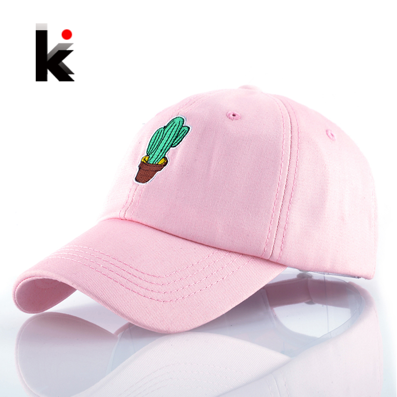 Spring Women's Cap Snapback Pink Cactus Embroidery Dad hat Men's Summer Baseball Caps Hip Hop hats For Girls Casquette Homme boapt unisex letter embroidery cotton women hat snapback caps men casual hip hop hats summer retro brand baseball cap female