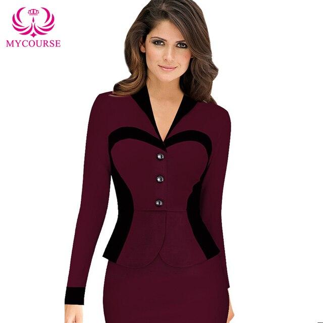 MYCOURSE Trendy Formal V-Neck Color Block Splicing High-Waisted Long Sleeve  Dress For Women af713bdd3