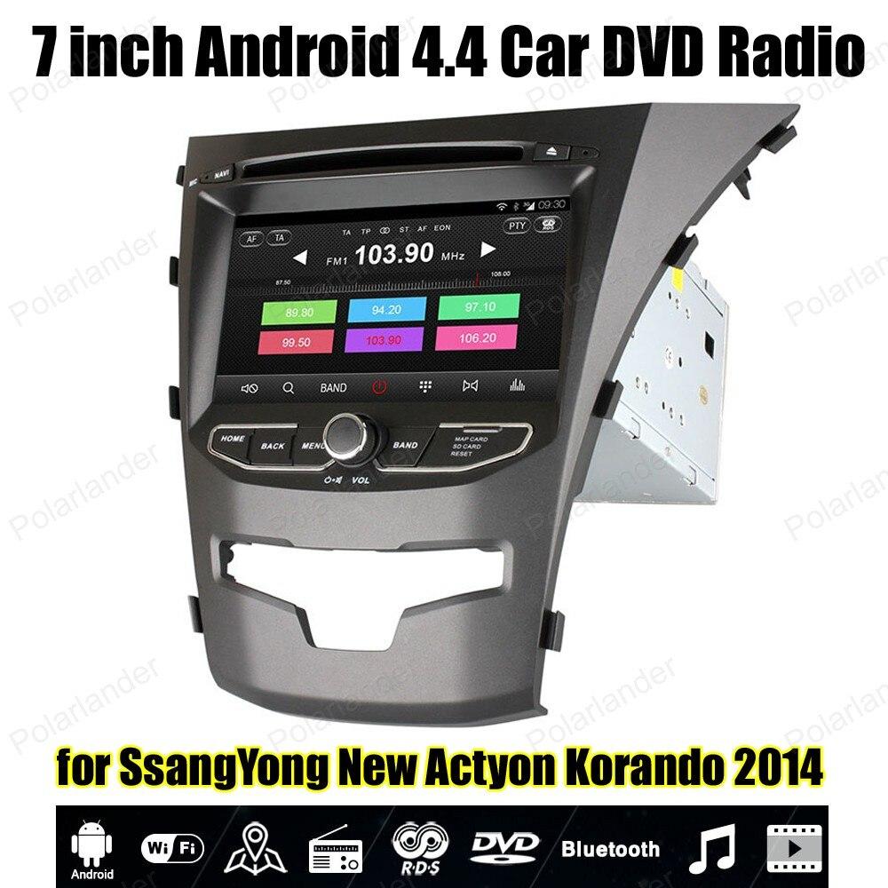 Android4.4 autoradio Quad Core DVD pour S/sangYong nouveau Ac/tyon Ko/rando 2014 prise en charge BT 3G WiFi OBDII TPMS GPS lien miroir