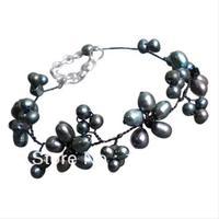 New Vận chuyển miễn phí Trân Jewellery 4-9mm Đen màu ngọc trai nước ngọt pha lê hạt Bracelet 8 '' thời trang hoa đồ trang sức bán buôn