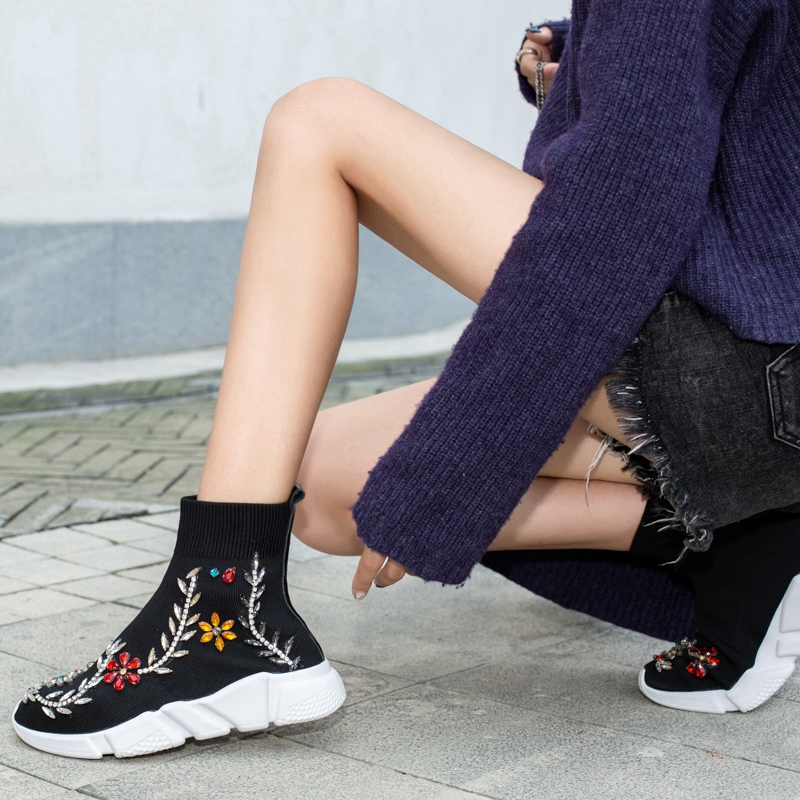 Girseaby NEW Embroidered flower sneakers knitting Winter Woman Shoes Ankle flat Boots Female Platform rhinestone slip on Black - 5