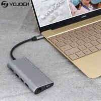 8-w-1 C Adapter USB z HDMI Typu C Moc Dostawy 4 K 30Hz, VGA, Audio Jack, Ethernet RJ45 Karta SD Dla MacBook USB Typu C Adapter