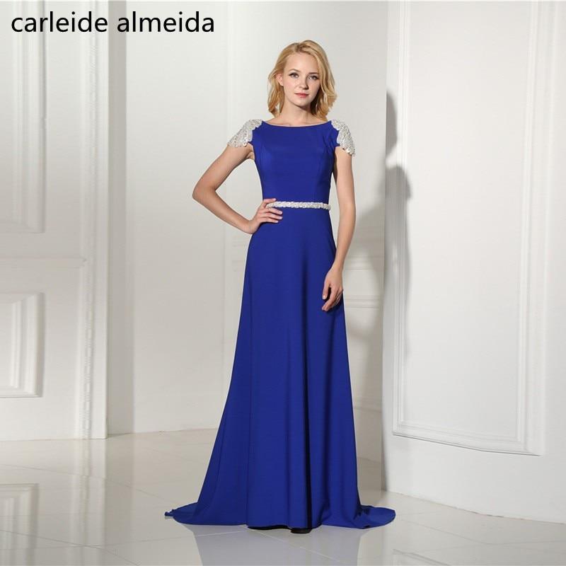 A-Line Chiffon Royal Blue   Prom     Dresses   Crystal Women's Formal   Dress   Elegant Robe de soiree Lange jurken