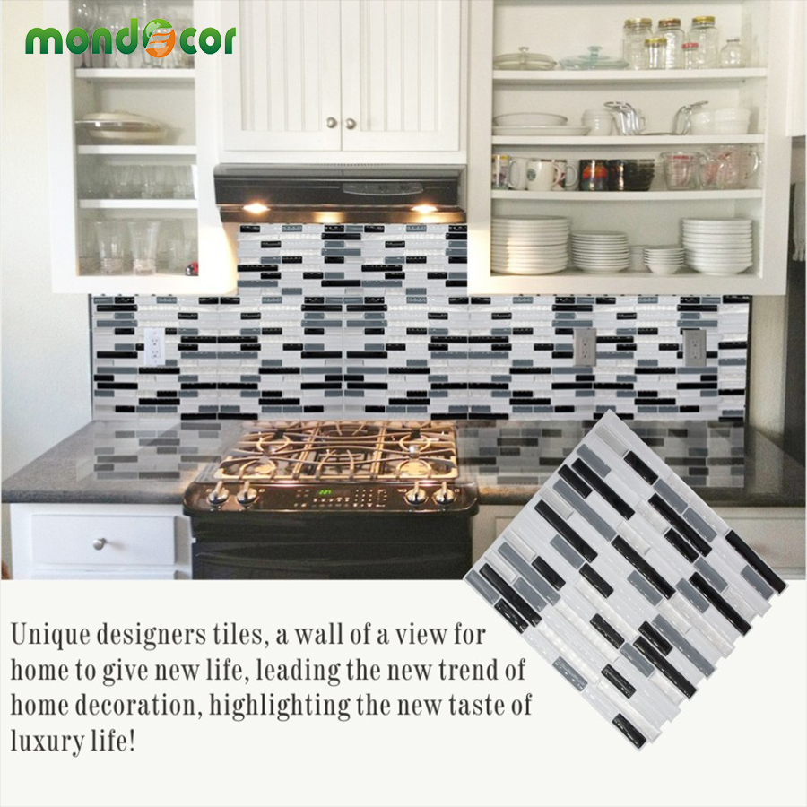 US $6.99 30% OFF|New DIY Kitchen Backsplash Mosaic Tile Wallpaper 3D Wall  Stickers Home Decor Waterproof PVC Bathroom Self Adhesive Contact Paper-in  ...