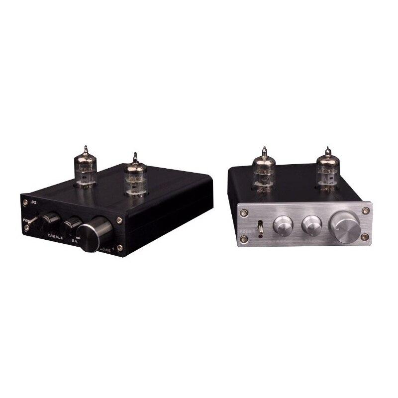 ZHILAI Tube Preamplifier HiFi Digital Audio Preamp 6J1 Valve Dual Channel Treble Bass D2 Amplificador with Power Adapter Black audio valve challenger 400 black