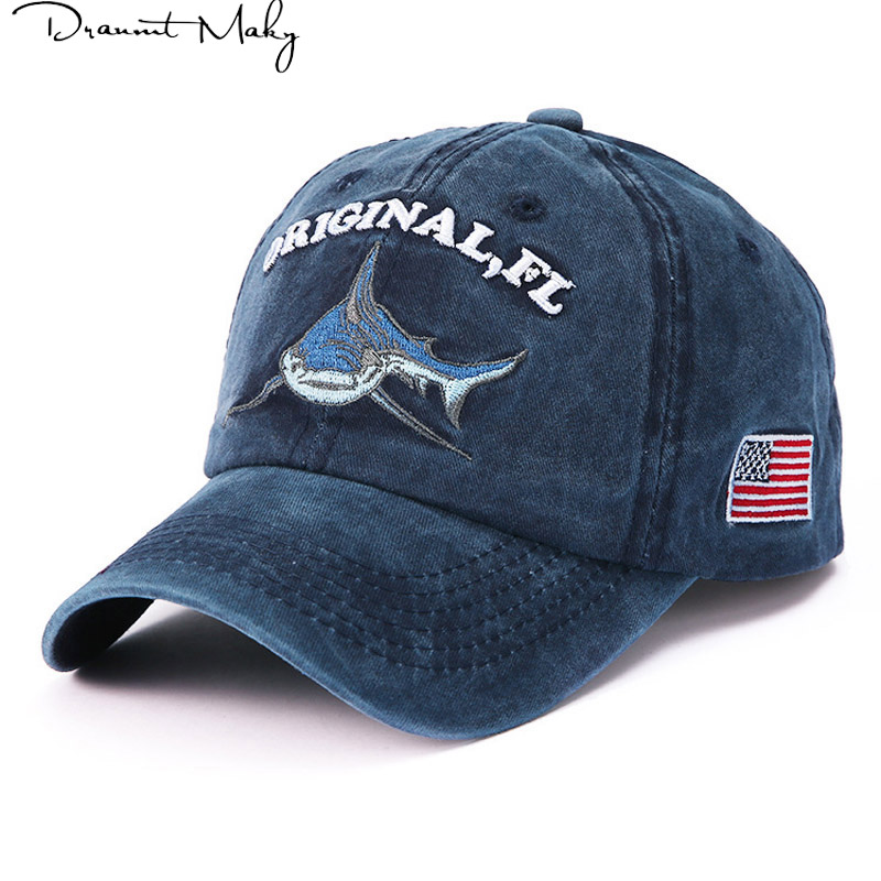 American shark embroidery   baseball     cap   fitted   cap   snapback hat for women gorras casual casquette embroidery letter retro   cap