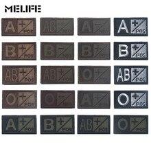 Черный зеленый спортивные сувениры Военный Патч группы кровеносного типа 3D вышивка патчи A+ B+ AB+ O+ положительные тактические бейджи коричневый