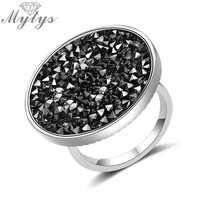 Mytys New Arrival Brand Crystal Ring For Women Pave Setting Black Crystals Big Flat Round Surface