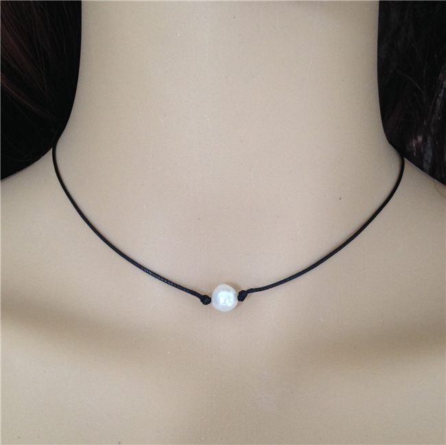 Best Freshwater pearl necklace black leather necklace single pearl  DM72