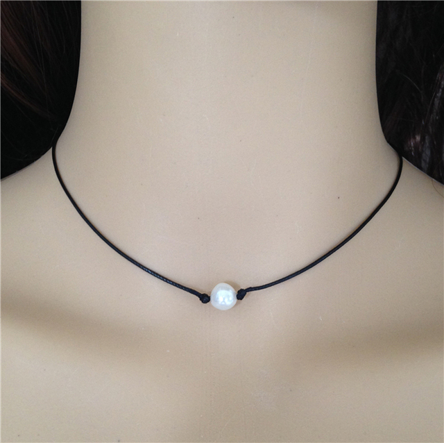 Freshwater pearl necklace black leather necklace single ...