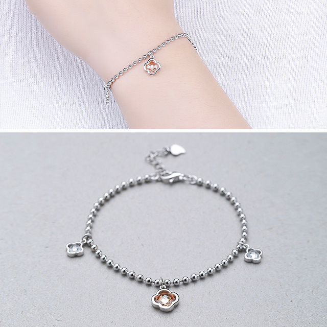 Factory Direct Sales S925 Sterling Silver Beaded Four Leaves Flowers Inlaid Bracelet Fashion Wild Silvers Wholesale