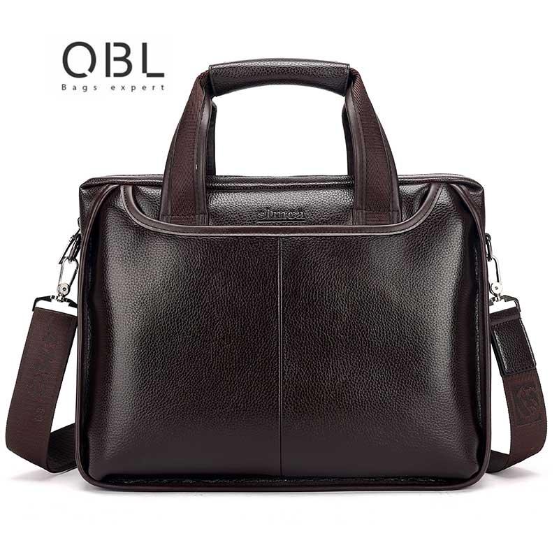 QiBOLu Pu Men Business Briefcase Bag Black Brown Casual Man Shoulder bags Mens Solid PU Leather  14inch Laptop Travel Bags