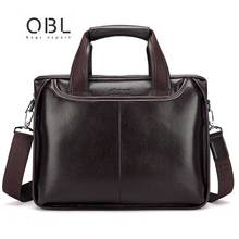QiBOLu Pu Men Business Briefcase Bag Black Brown Casual Man Shoulder bags Mens Solid PU Leather  14inch Laptop Travel Bags