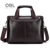 QiBOLu Pu Men Business Briefcase Bag Black Brown Casual Man Bag Shoulder bags Men's Solid PU Leather 14inch Laptop Travel Bags