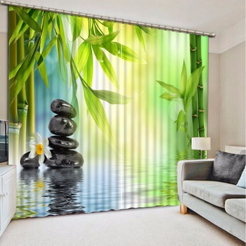 3D Curtain Photo Customize Size Bamboo Leaves Black Stones Curtain Bedroom Living Room Office Cortinas Breakdown Bathroom Shower