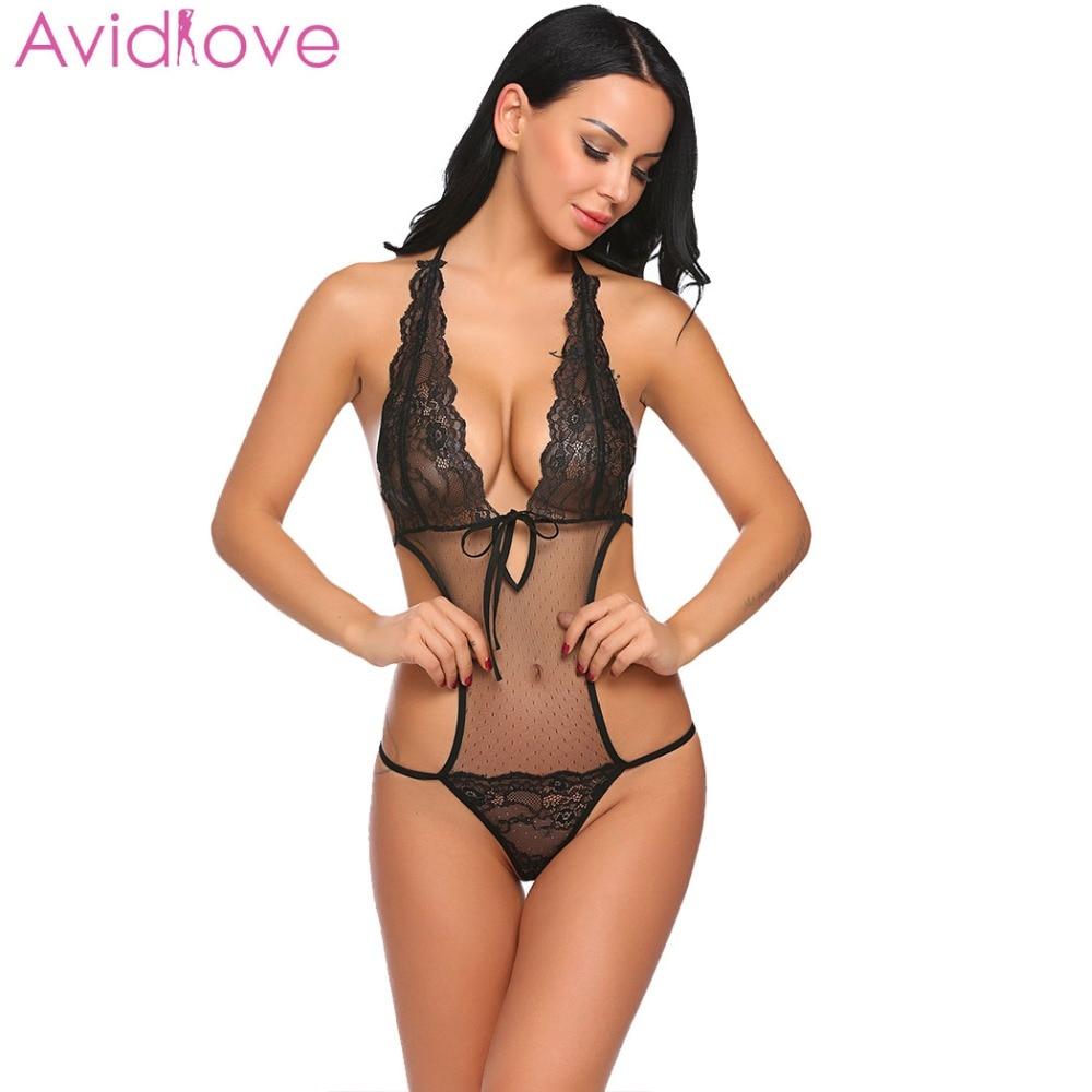db3475314ace6 Avidlove mujer Sexy lencería Sexy ropa interior trajes Sexy de una sola  pieza ropa interior de las mujeres Halter Teddy encaje pura