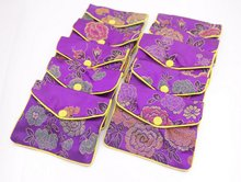 10 pcs purple flower baldachin cloth gift jewelry bags pouches 80mmx100mm