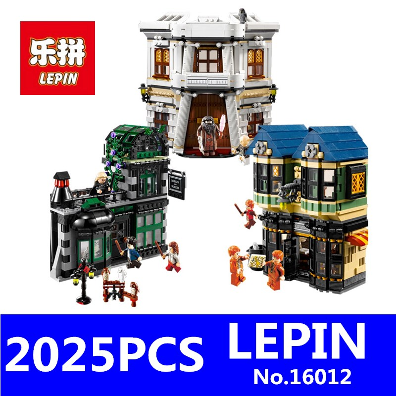 LEPIN 16012 2025Pcs Harry Potter Magic Word Diagon Alley Model Educational Building Blocks Bricks Compatible Children Toys Gift harry potter magical places from the films hogwarts diagon alley and beyond