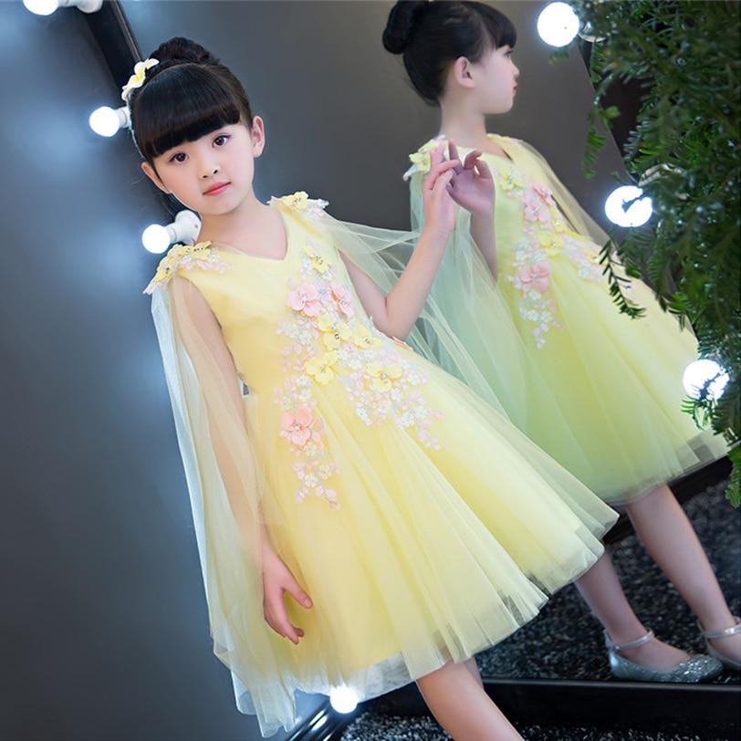 2017 European Luxury Children Girls Pink Yellow Princess Beautiful Dress Summer Birthday Wedding Party Sweet Mesh
