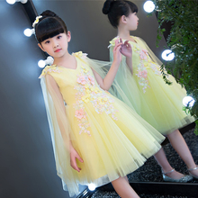2017 European Luxury Children Girls Pink Yellow Princess Beautiful Dress Summer Birthday Wedding Party Sweet Mesh