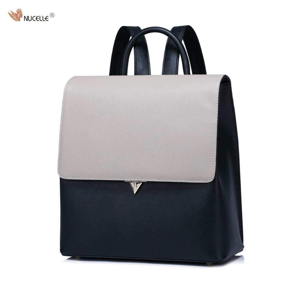 ФОТО NUCELLE Brand Design Women's Fashion Color Blocking Cover Casual Cow Leather Girls Ladies Backpack Shoulders Travel School Bag