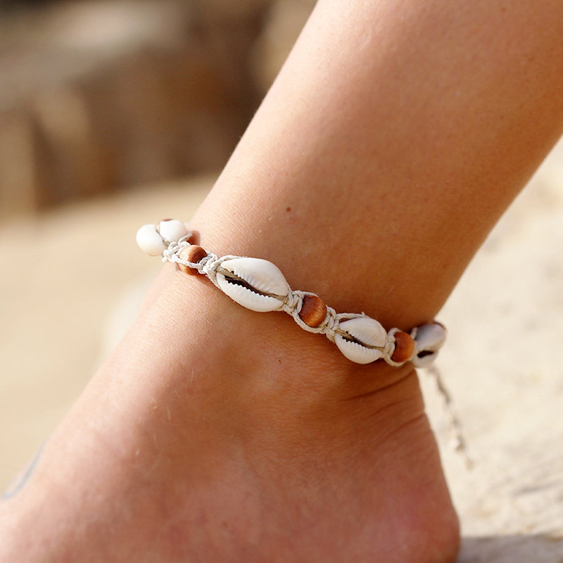 New Vintage DIY Rope Wood Bead Ankle Bracelet Natural Shell Bohemian Anklet Women Foot Jewelry Summer Beach Holiday Accessories