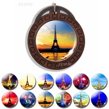 Romantic Jewelry Eiffel Tower Photo Glass Cabochon Wooden Keychain Paris Tour Memorial Keyring Best French Symbol Sign Gift